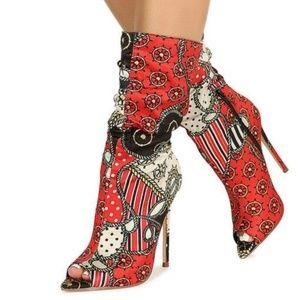Kylie Nautical Pointed Peep Toe Stiletto Boot